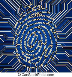 identification, système, empreinte doigt
