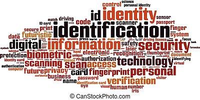 Identification word cloud concept. Vector illustration