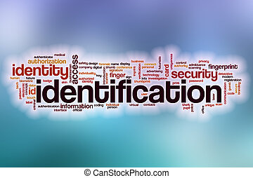 Identification word cloud with abstract background