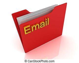 identificato, cartella, computer, rosso, email
