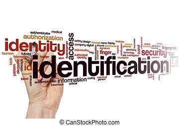 identifikation, wort, wolke