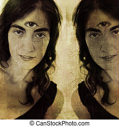 Woman with third eye and her reflection (or double). Photo based illustration.
