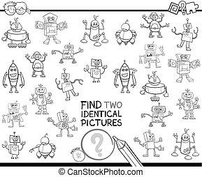 identisch, erzieherisch, farbe, roboter, zwei, buch, finden