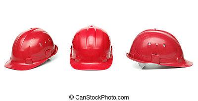 identisk, hårt, tre, röd, hat.