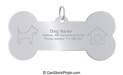 identità, vettore, etichetta cane