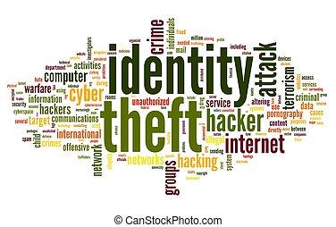 identiteit diefstal, in, woord, label, wolk