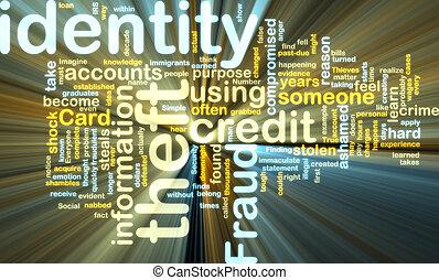 identiteit diefstal, wordcloud, gloeiend