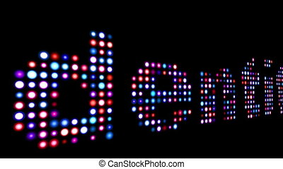 Identity colorful led text over black