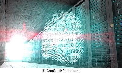 Identity graphics in server room - Digital animation of...
