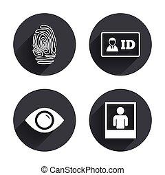 Identity ID card badge icons. Eye symbol. - Identity ID card...