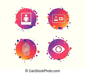 Identity ID card badge icons. Eye symbol. Vector