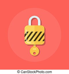 Old key in a keyhole. Vector illustration of an old key in ...