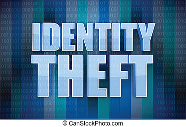 Identity theft binary concept in word illustration design