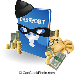 Identity theft concept. Passport with wearing burglar outfit...