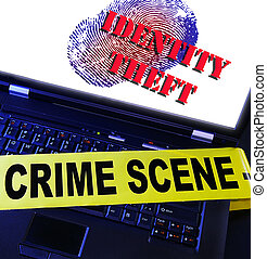 Identity theft - laptop fingerprint with Identity Theft text
