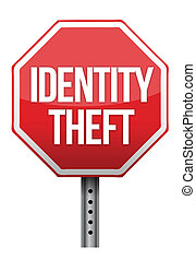 identity theft sign illustration design over white...