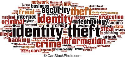Identity theft word cloud concept. Vector illustration