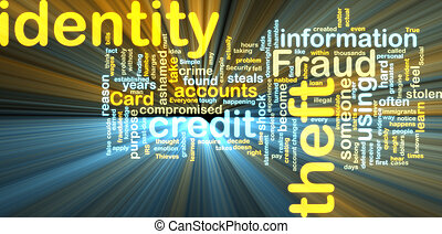 Identity theft wordcloud glowing - Word cloud tags concept ...