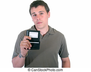 Identity Theft - Young man holding wallet missing his I.D....