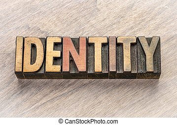 identity word abstract in wood type