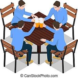 identyczny, beer., mężczyźni, cztery, okulary ciupy