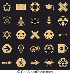 Ideograph icons set, simple style - Ideograph icons set. ...