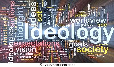 ideologie, glühen, begriff, hintergrund