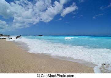 Idilic Ionian peble beach with turqouise water - Beautiful...