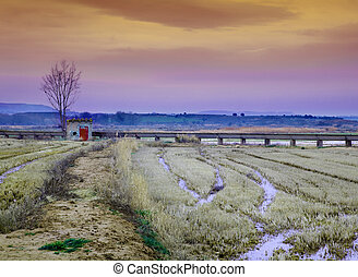 Idilic landscape with little house,water channel and harvest...