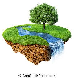 idilliaco, naturale, paesaggio., prato, con, fiume, cascata,...