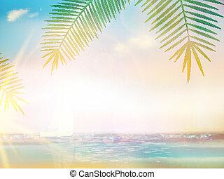 idilliaco, palme, tropicale, sabbia, spiaggia., vuoto