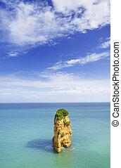 idilliaco, spiaggia, paesaggio, a, lagos, algarve, (portugal)