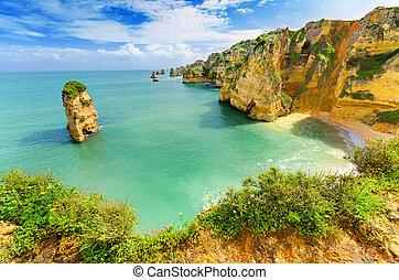 idilliaco, spiaggia, paesaggio, a, lagos, algarve,...