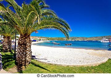 idilliaco, spiaggia palma, in, primosten