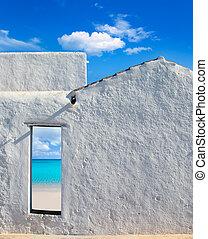 idillikus, ajtó, épület, sziget, balearic, tengerpart