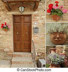 idillikus, bejárati ajtó, kollázs, olaszország