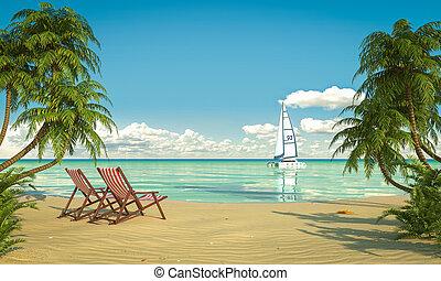 idillikus, caribean, tengerpart, kilátás