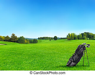 idillikus, golfpálya, noha, erdő