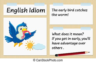 idiom, テンプレート, 捕獲物, 早めに来る人, 英語, みみず