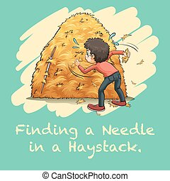 Idiom finding a needle in a haystack