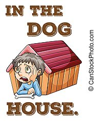 Idiom - English saying in the doghouse