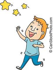 idiom, portata, stelle, illustrazione, uomo