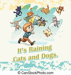 Idiom raining cats and dogs illustration