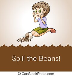 Idiom spill the beans illustration