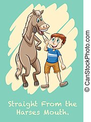 Idiom straight from the harses mouth illustration
