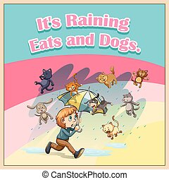 Idiom saying it's raining cats and dogs
