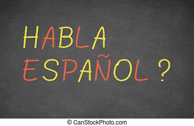 idioma, concepto, image., aprendizaje, español