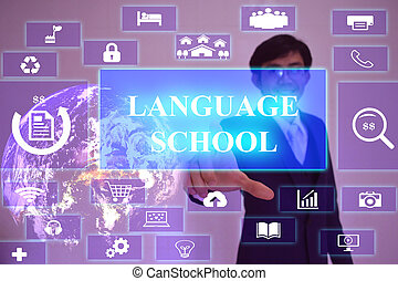idioma, escuela, concepto, presentado, por, hombre de negocios, conmovedor, en, virtual, pantalla, elemento, amueblado, por, nasa