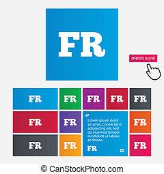 idioma francés, señal, icon., fr, translation.