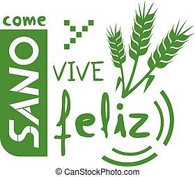 idioma, sano, felizmente, vivo, español, mensaje, comer